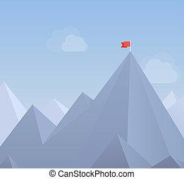 plat, drapeau, pic, illustration, montagne
