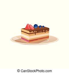 plat, drizzled, vecteur, dessert, doux, ou, recette, nourriture., fraise, posé couches, conception, délicieux, menu, blueberry., chocolat, décoré, café, cuit, livre