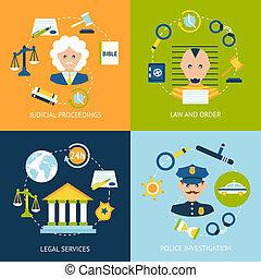 plat, droit & loi, ensemble, icônes