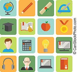 plat, e-apprendre, ensemble, icône