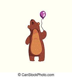 plat, ears., debout, pourpre, balloon, regarder, animal, brun, autocollant, haut., affiche, livre, ours, petit, dessin animé, fourrure, carte postale, grisonnant, vecteur, lustré, sauvage, ou