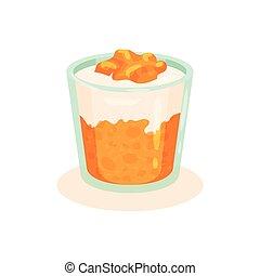 plat, eating., vecteur, délicieux, dessert, recette, nourriture., caillé, livre, savoureux, fait maison, verre., élément, persimmon