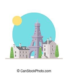 plat, eiffel, france, conception, village, tour