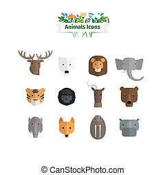 plat, ensemble, animaux, avatars, faces, sauvage