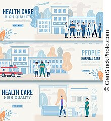 plat, ensemble, bannière, élevé, en-tête, healthcare, qualité