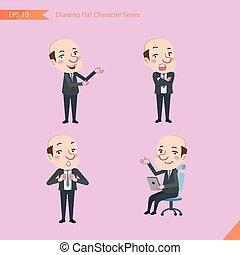 plat, ensemble, bureau, business, activités, -, chauve, caractère, patron, communications, concept, ouvrier, style, dessin, introduire, confiance