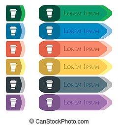 plat, ensemble café, additionnel, modules., signe., long, coloré, boutons, clair, conception, petit, icône