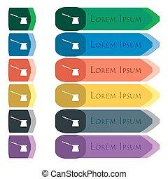 plat, ensemble café, additionnel, modules., signe., long, coloré, boutons, clair, turc, petit, conception, icône