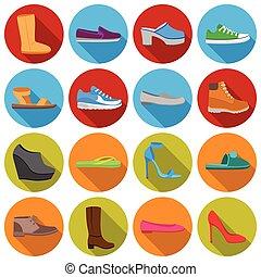 plat, ensemble, chaussures, icônes, grand, symbole, collection, vecteur, illustration, style., stockage