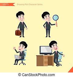 plat, ensemble, conseil, bureau, business, activités, caractère, -, jeune, recherche, concept, ouvrier, homme affaires, ouvrier, dessin, style