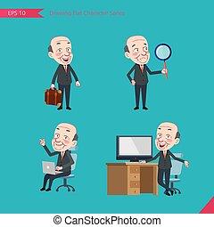 plat, ensemble, conseil, bureau, business, activités, pdg, caractère, -, recherche, concept, ouvrier, homme affaires, dessin, style