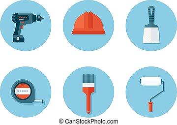 plat, ensemble construction, outils, icônes