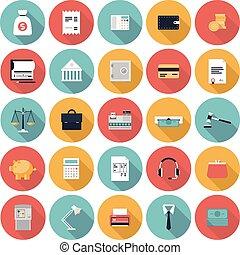 plat, ensemble, finance, marché, icônes