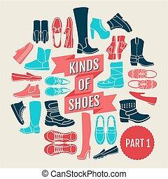 plat, ensemble, genres, icônes, shoes., partie, 2.