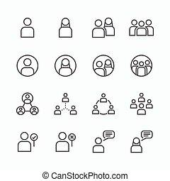 plat, ensemble, gens, concept., icônes, vecteur, ligne, icône