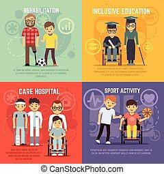 plat, ensemble, handicapé, personne, vecteur, concepts, soin