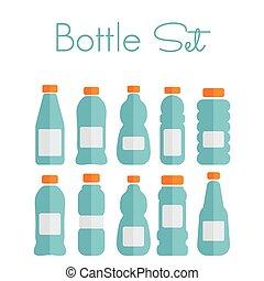 plat, ensemble, icônes, -, bouteille plastique