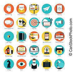 plat, ensemble, icônes, commercialisation, conception, services