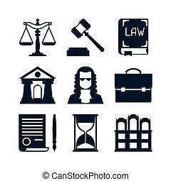 plat, ensemble, icônes, conception, droit & loi, style.