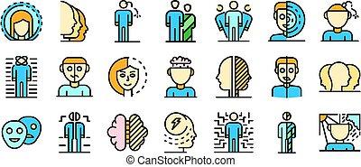 plat, ensemble, icônes, désordre, bipolaire, vecteur