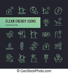 plat, ensemble, icônes, eco, vecteur, style.