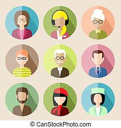 plat, ensemble, icônes, gens., illustration, vecteur, cercle