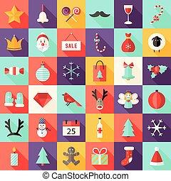 plat, ensemble, icônes, grand, carré, 1, noël