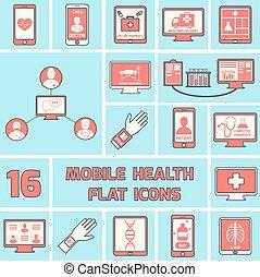 plat, ensemble, icônes, mobile, santé, ligne