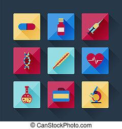 plat, ensemble, icônes, monde médical, conception, style.