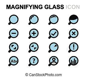 plat, ensemble, icônes, verre, vecteur, magnifier