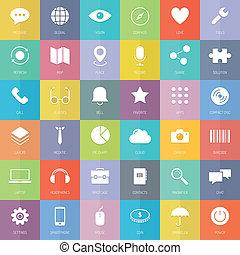 plat, ensemble, icones affaires, technologie moderne