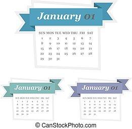 plat, ensemble, janvier, conception, 2017, calendrier, ruban