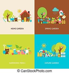plat, ensemble, jardin, printemps, vecteur, concepts