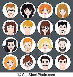 plat, ensemble, moderne, filles, avatars, vecteur, conception, élégant, types