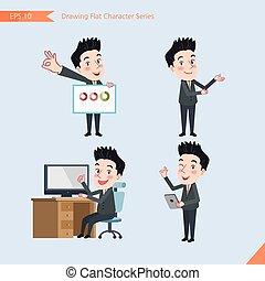 plat, ensemble, ok, bureau, business, activités, signe, caractère, -, présentation, concept, ouvrier, troubleshooter, style, dessin, beau
