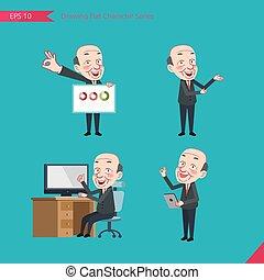 plat, ensemble, ok, business, activités, signe, -, chauve, caractère, patron, présentation, concept, ouvrier, conseil, dessin, style