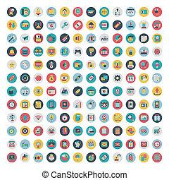 plat, ensemble, réseau, média, icons., vecteur, social, icône