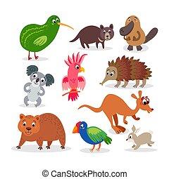 plat, ensemble, sauvage, style, animaux, australie