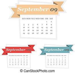 plat, ensemble, septembre, conception, 2017, calendrier, ruban