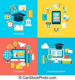 plat, ensemble, service, concepts, apprentissage, éducation ligne