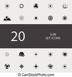 plat, ensemble, soleil, illustration, vecteur, icons.