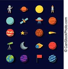 plat, ensemble, système, solaire, icônes