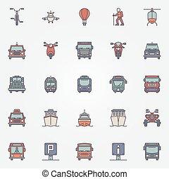 plat, ensemble, transport, icônes