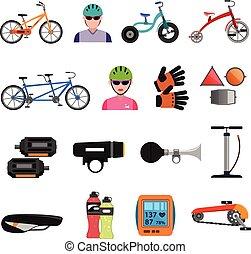 plat, ensemble, vélo, icônes