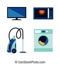plat, ensemble, vecteur, électronique, consommateur, icône
