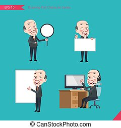 plat, ensemble, whiteboard, bannière, business, activités, pdg, caractère, -, introduction, télémarketing, concept, dessin, calculer, style