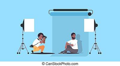 plat, entiers, business, séance, formel, photo, utilisation, moderne, américain, professionnel, longueur, appareil photo, poser, usure, africaine, studio photographe, horizontal, tir, modèle, homme