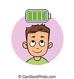 plat, entiers, illustration., pleinement, battery., isolé, jeune, arrière-plan., vecteur, homme, blanc, énergie, chargé
