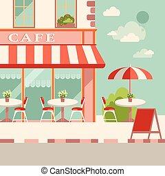 plat, extérieur, illustration., moderne, rue, vecteur, café, européen