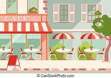 plat, extérieur, illustration., moderne, vecteur, horizontal, café
